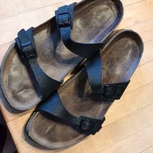 Birkenstock two strap black sandals